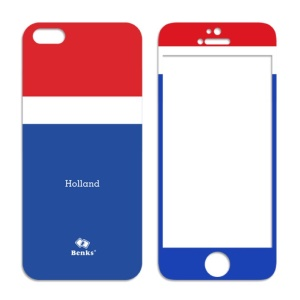 Benks for iPhone 5s 5 Magic AKR+ World Cup Flag of Netherlands Tempered Glass Screen Protector + PET Back Film