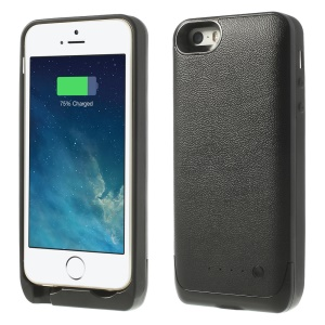 2500mAh Soft TPU Edges Backup Battery Charger Case for iPhone 5 5s - Black