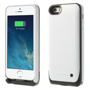 2500mAh Soft TPU Edges External Battery Charger Case for iPhone 5 5s - White