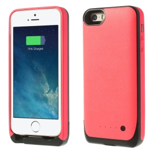 For iPhone 5 5s Soft TPU Edges External Power Battery Case 2500mAh - Red