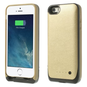 For iPhone 5 5s Soft TPU Edges Backup Battery Charger Cover 2500mAh - Champagne