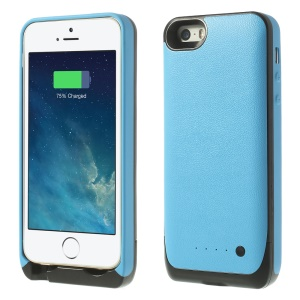 Soft TPU Edges Backup Battery Charging Case 2500mAh for iPhone 5 5s - Blue