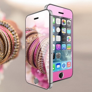 Wriol G Series Color Mirror 0.3mm Tempered Glass Screen Protector for iPhone 5c 5s 5 - Pink