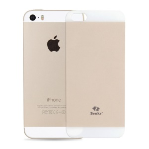 Champagne Gold Benks for iPhone 5s 5 Magic OKR 9H Scratch-resistant Shatterproof Glass Back Cover Protector