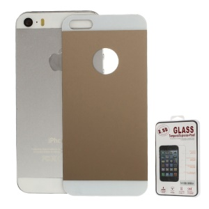 Electroplating Shatterproof Glass Back Cover Protective Film for iPhone 5s 5 - Champagne Gold