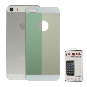 Electroplating Shatterproof Glass Back Cover Protector Film for iPhone 5s 5 - Green