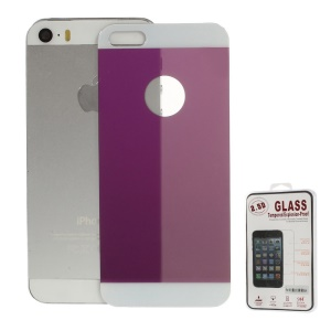 Electroplated Shatterproof Glass Back Cover Guard Film for iPhone 5s 5 - Purple
