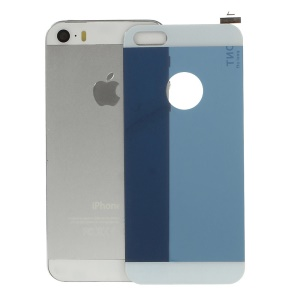 Electroplated Shatterproof Glass Back Cover Protector Film for iPhone 5s 5 - Blue