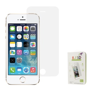 Silver 0.3mm Colored-plating Tempered Glass Screen Protector Film for iPhone 5s 5 (Arc Edge)