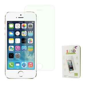 Green 0.3mm Colored-plating Tempered Glass Screen Protector Cover Film for iPhone 5s 5 (Arc Edge)