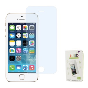 Blue 0.3mm Colored-plating Tempered Glass Screen Protector Shield Film for iPhone 5s 5 (Arc Edge)