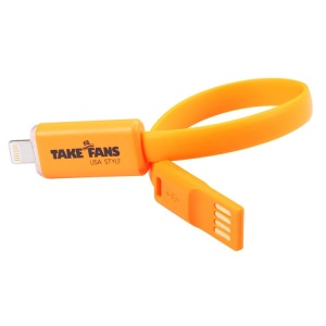 Orange TakeFans Dazzle Color Series II LED Flash 20cm Lightning 8pin Charging Data Cable for iPhone 5c 5s 5 / iPad Air / iPod Touch 5