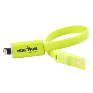 Green TakeFans Dazzle Color Series II LED Flash 20cm Lightning 8pin Charging Data Cable for iPhone 5c 5s 5 / iPad Mini 2 / Nano 7
