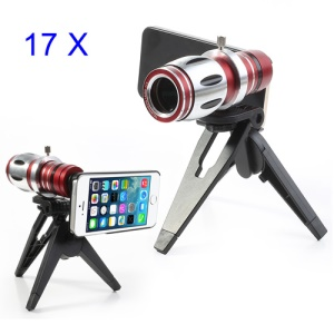 For iPhone 5 5s 17x Magnifier Telescope Telephoto Camera Lens + Tripod + Back Case