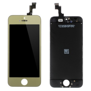 Gold for iPhone 5s Plated LCD Assembly ( OEM LCD Screen + Camera Holder + Sensor IC Holder + Earpiece Mesh) & (High quality Glass Lens + Digitizer Frame)