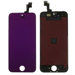 Purple for iPhone 5s Plated LCD Assembly (OEM LCD Screen + Camera Holder + Sensor IC Holder + Earpiece Mesh) & (High quality Glass Lens + Digitizer Frame)