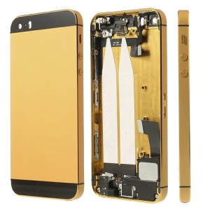 For iPhone 5s Metal Back Housing Faceplate Assembly w/ Other Parts - Black / Gold