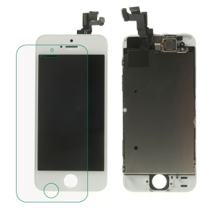 White for iPhone 5s LCD Assembly (OEM Camera Holder + Front Camera + Earpiece Mesh + Sensor IC Holder & High Quality Glass Lens Etc)