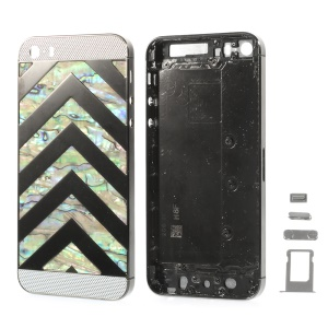 Zigzag Chevron Metal Back Housing Faceplate Assembly for iPhone 5s w/ Small Parts - Silver Glass
