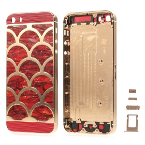 For iPhone 5s Half Circle Waves Pattern Metal Back Housing Faceplate Assembly w/ Small Parts - Red Glass