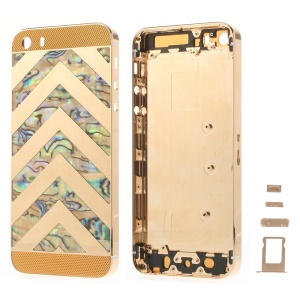 Zigzag Chevron Metal Back Housing Faceplate Assembly for iPhone 5s w/ Small Parts - Gold Glass
