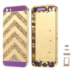 For iPhone 5s Zigzag Chevron Metal Back Housing Faceplate Assembly w/ Small Parts - Purple Glass