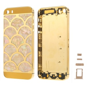 For iPhone 5s Half Circle Waves Pattern Metal Back Housing Faceplate Assembly w/ Small Parts - Gold Glass
