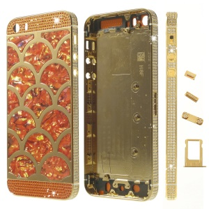 Half Circle Waves Diamond Metal Back Housing Faceplates for iPhone 5s w/ Small Parts - Orange