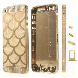 Half Circle Waves Diamond Metal Back Housing Faceplates for iPhone 5s w/ Small Parts - Champagne