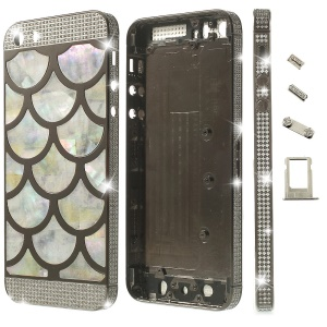 Half Circle Waves Diamond Metal Back Housing Faceplates for iPhone 5s w/ Small Parts - Grey