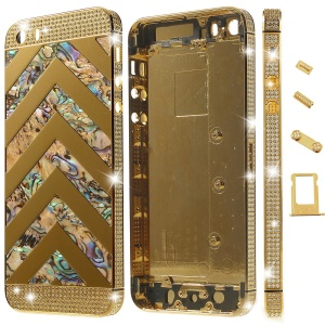 Zigzag Chevron Diamond Metal Back Housing Faceplates for iPhone 5s w/ Small Parts - Gold