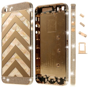 Zigzag Chevron Diamond Metal Back Housing Faceplates for iPhone 5s w/ Small Parts - Champagne
