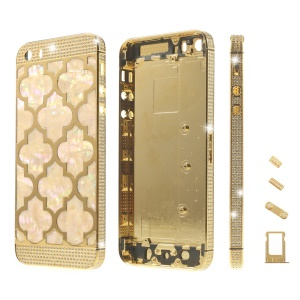 Lantern Design Diamond Metal Back Housing Faceplates for iPhone 5s w/ Small Parts - Gold