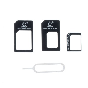 Black CMZWT 4 in 1 Nano SIM to Micro SIM / Standard SIM Card Adapter with Eject Pin for iPhone 5s 5c 5 4s 4 iPad