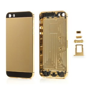 Glossy Plated Full Housing Faceplates for iPhone 5s w/ Buttons SIM Card Tray - Gold / Black