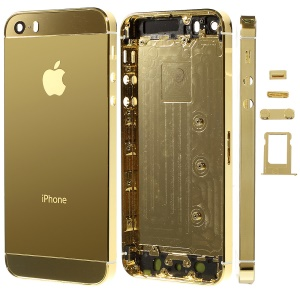 Glossy Plated Full Housing Faceplates for iPhone 5s w/ Buttons SIM Card Tray - Gold