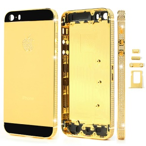 Deluxe Diamante Gold Full Housing Faceplates for iPhone 5s w/ Buttons SIM Card Tray - Black Glass