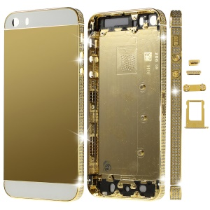 Deluxe Diamante Gold Full Housing Faceplates for iPhone 5s w/ Buttons SIM Card Tray - White Glass
