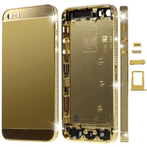 Deluxe Diamante Gold Full Housing Faceplates for iPhone 5s w/ Buttons SIM Card Tray - Gold Glass