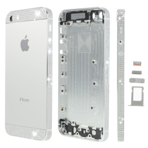 White Diamond Sides & Top & Bottom Metal Full Housing for iPhone 5s w/ Small Parts - Silver