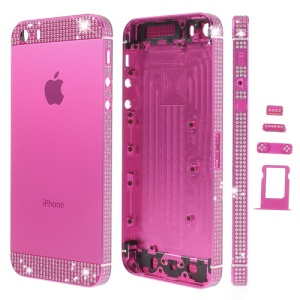 White Diamond Sides & Top & Bottom Metal Full Housing for iPhone 5s w/ Small Parts - Rose