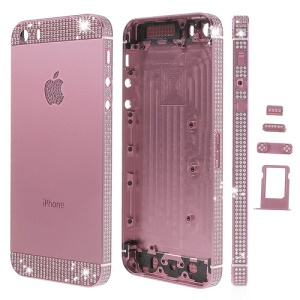 White Diamond Sides & Top & Bottom Metal Full Housing for iPhone 5s w/ Small Parts - Pink
