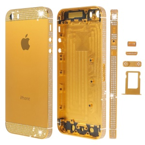 White Diamond Sides & Top & Bottom for iPhone 5s Metal Full Housing w/ Small Parts - Gold