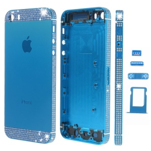 White Diamond Sides & Top & Bottom for iPhone 5s Metal Full Housing w/ Small Parts - Dark Blue