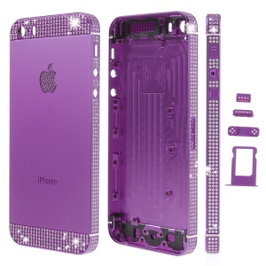 For iPhone 5s White Diamond Sides & Top & Bottom Metal Full Housing w/ Small Parts - Purple