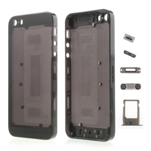 Colored Middle Transparent Plastic Full Housing Faceplates w/ Small Parts for iPhone 5s - Black
