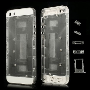 For iPhone 5s Plastic Full Housing Faceplates w/ Small Parts - Transparent