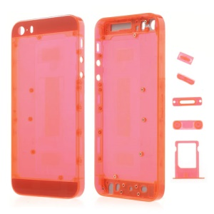 Colored Middle Transparent Plastic Full Housing Faceplates w/ Small Parts for iPhone 5s - Red