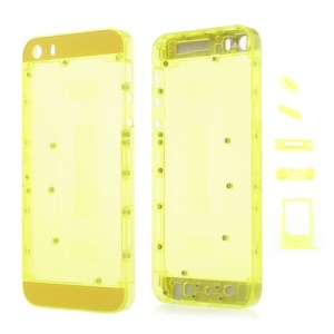 Colored Middle Transparent Plastic Full Housing Faceplates w/ Small Parts for iPhone 5s - Yellow