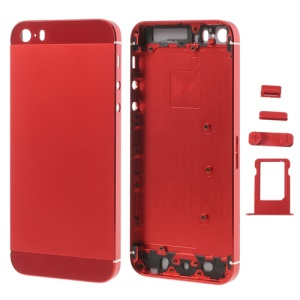 Red Smooth Metal Full Housing for iPhone 5s w/ Side Buttons SIM Card Tray
